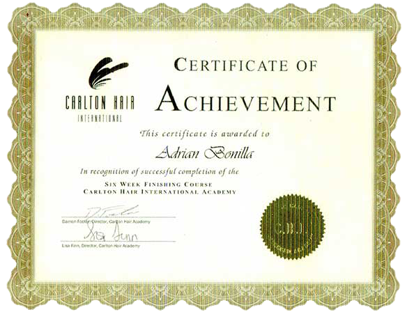 Certificate of Achievement 6 Week Finishing Course