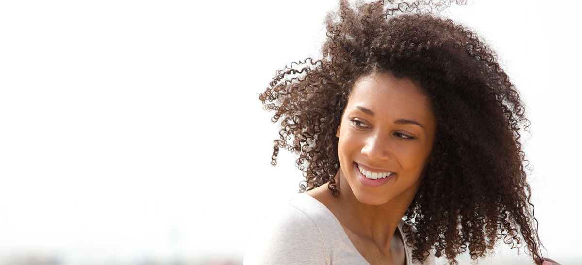 Woman with Curly Hair, Smiling