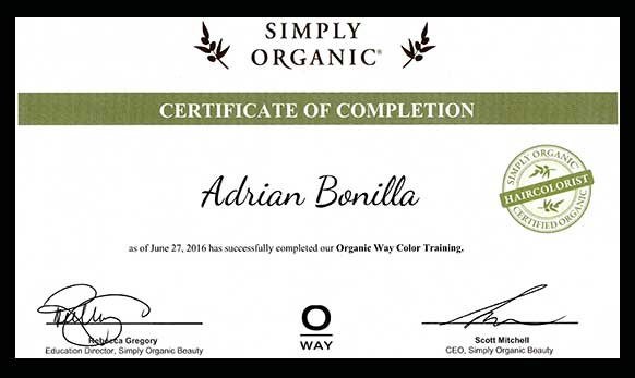 Simply Organic Certificate of Completion